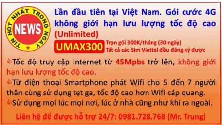 Hướng dẫn đăng ký gói UMAX300 Viettel – Không giới hạn lưu lượng